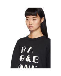 Rag & Bone ブラック ビンテージ ロゴ スウェットシャツ Black