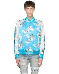 メンズ Amiri ブルー & ホワイト シルク ボンバー ジャケット Blue