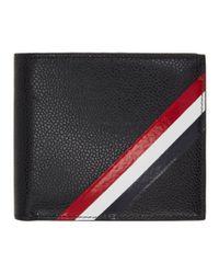 Thom Browne - Black Striped Pebble-grain Leather Billfold Wallet for Men - Lyst