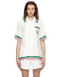 CASABLANCA Blanca ホワイト シルク Tennis Club ショート スリーブ シャツ White