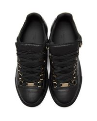 Balenciaga - Women's Arena Leather Sneaker Shoes Black - Lyst
