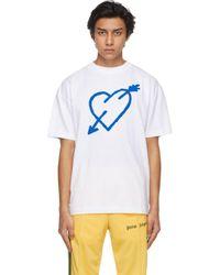 メンズ Palm Angels ホワイト Pierced Heart T シャツ White