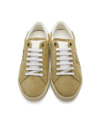 Saint Laurent Natural Beige Embroidered Court Classic Sneakers
