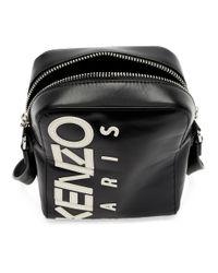 メンズ KENZO ブラック ラージ ロゴ クロスボディ バッグ Black
