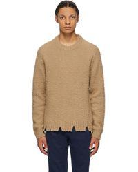 メンズ Maison Margiela タン ウール オーバーサイズ デストロイ セーター Multicolor