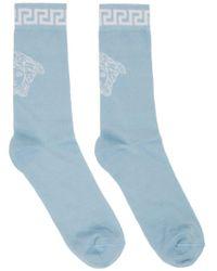メンズ Versace ブルー & ホワイト Medusa ソックス Blue