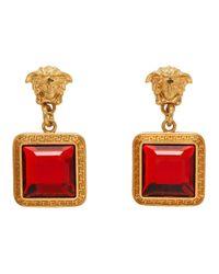 Versace ゴールド And レッド スクエア クリスタル メドゥーサ ピアス Red