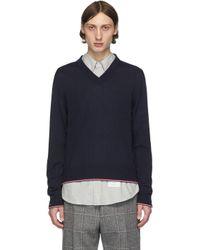 メンズ Thom Browne ネイビー カシミア V ネック セーター Blue