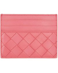 Bottega Veneta ピンク イントレチャート カード ケース Pink