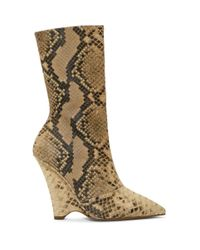 Yeezy Multicolor Python Print Leather Wedge Boots