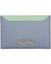 Miu Miu - Blue And Green Colorblock Card Holder - Lyst