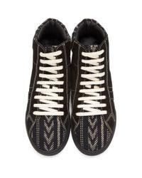 Saint Laurent Black Ikat Joe High-top Sneakers for men