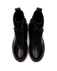 Valentino Garavani コレクション ブラック Vlogo コンバット ブーツ Black