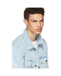 Off-White c/o Virgil Abloh Blue Oversized Denim 'not Real' Angel Jacket for men