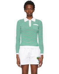 CASABLANCA グリーン & ホワイト Grandpa Tennis ロング スリーブ ポロシャツ Green