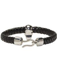 Alexander McQueen - Black And Silver Braided Leather Skull Bracelet for Men - Lyst