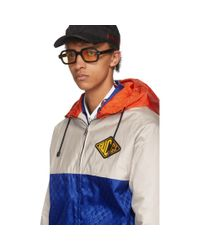 Gucci Blue And Beige Jacquard GG Hooded Jacket for men