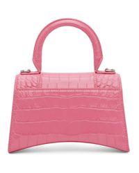 Balenciaga ピンク クロコ Xs Hourglass バッグ Pink