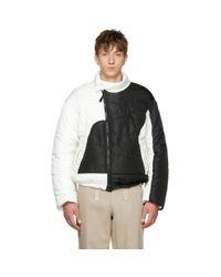 メンズ GmbH ブラック And ホワイト ハンズ リサイクル パファー ジャケット Black