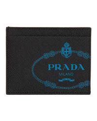 メンズ Prada ブラック サフィアーノ ロゴ カード ホルダー Black
