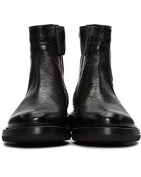 Rick Owens Black Cracked Creeper Boots for men