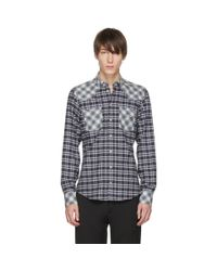 Dolce & Gabbana Blue And Black Check Western Shirt for men