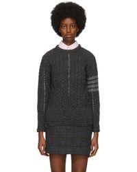Thom Browne Gray Grey Wool Aran Cable 4-bar Sweater