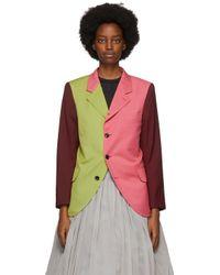 Comme des Garçons ピンク & グリーン カラーブロック ブレザー Multicolor