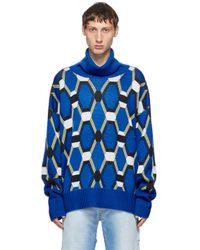 メンズ Random Identities ブルー ウール ジャカード セーター Blue