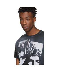 メンズ DSquared² ブラック Vicious Bros Cigarette Fit T シャツ Black