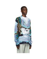 メンズ Off-White c/o Virgil Abloh ブルー And ホワイト Waterfall セーター Blue