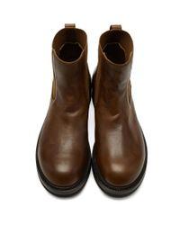 Rick Owens Brown Creeper Elastic Boots for men