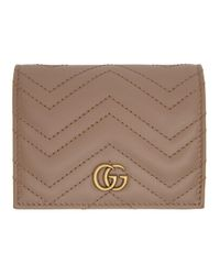 Gucci Natural Pink GG Marmont Card Case Wallet
