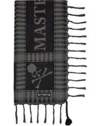 メンズ MASTERMIND WORLD ブラック & グレー スカーフ Gray