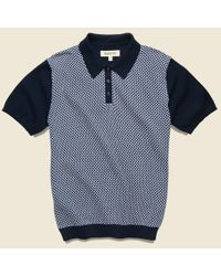 Barque Jacquard Sweater Polo - Blue for men