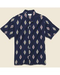 Universal Works Blue Road Shirt - Indigo Ikat for men