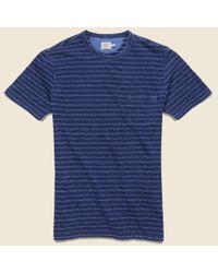 Faherty Brand Blue Jacquard Indigo Pocket Tee - Geo Stripe for men
