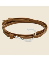 Miansai - Fish Hook Bracelet - Brown Leather/silver for Men - Lyst