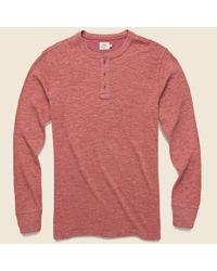 Faherty Brand Pink Slub Cotton Henley - Crimson Heather for men