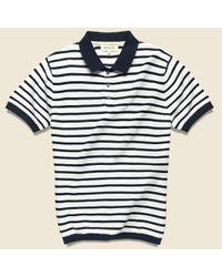 Barque Blue Breton Stripe Sweater Polo - Navy for men
