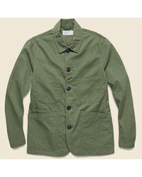 Universal Works Green Bakers Jacket - Light Olive for men