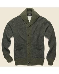 RRL Green Donegal Shawl Collar Sweater - Olive for men