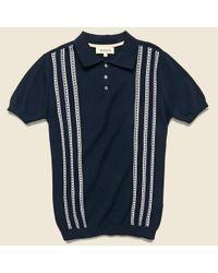 Barque Blue Vintage Jacquard Polo - Navy for men