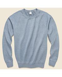 Save Khaki Blue Pigment Dye Supima Fleece Sweatshirt - Storm for men