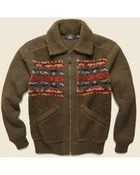 RRL Printed Fleece Jacket - Brown/multi for men