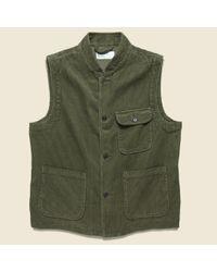 Universal Works Green Cord Battle Waistcoat - Olive for men