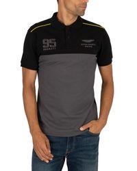 Hackett Black Amr Stripe Slim Poloshirt for men