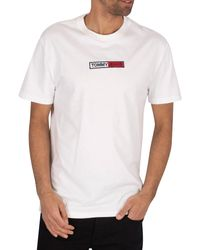 Tommy Hilfiger White Embroidered Box Logo T-shirt for men