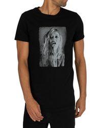 Religion Black Salute Curved Hem T-shirt for men