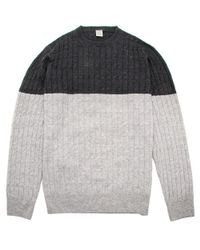 Eleventy Gray Aubergine And Grey Colorblock Knit Sweater